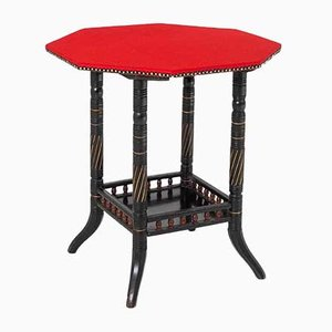 Ebonised Aesthetic Movement Octagonal Centre Table with Red Baize