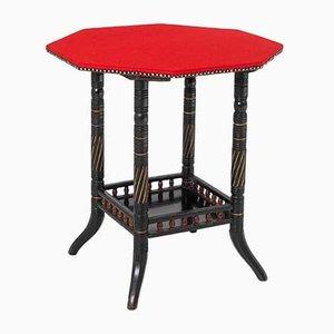 Ebonisierter Achteckiger Aesthetic Movement Tisch mit Roter Scheide