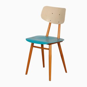 Vintage Wooden Chair with Blue Seat from Ton, 1960s