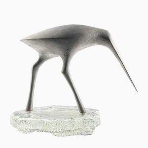 Modell Snaps TW 513 Skulptur eines Vogels auf einem Glasständer von Tapio Wirkkala, Finland, 1975
