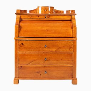 Antique Biedermeier Birch Secretary with a Secret Compartment, 1830s