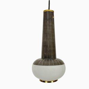 Mid-Century Deckenlampe aus Geätztem Glas