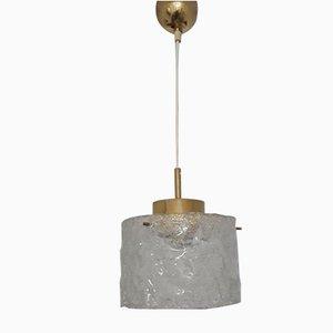 Vintage Deckenlampe aus Glas & Messing von Hillebrand, 1970er