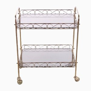 French Trolley in Brass with Glass