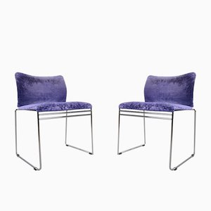 Jano Purple Velvet Dining Chairs by Kazuhide Takahama for Simon International, Set of 10