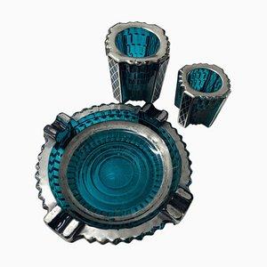 Italienisches Rauchglas aus Rauchglas in Silber & Blau, 1930er, 3er Set