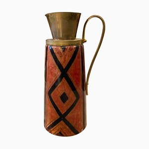 Mid-Century Modern Hand-Painted Red Goatskin Thermos Carafe by Aldo Tura, 1950s
