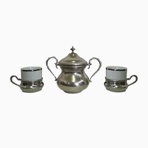 Silver and Pewter Coffee Service Set, 1970s, Set of 25