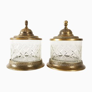 Antique Crystal and Bronze Jars, 19th-Century Set of 2
