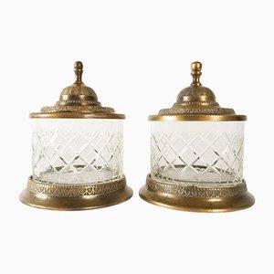 Vasetti antichi in cristallo e bronzo, XIX secolo, set di 2