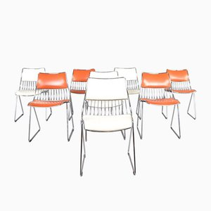 Chrome, Wire and Skai Dining Chairs by Rudi Verelst for Novalux, 1970s, Set of 8