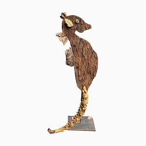 Antike Vergoldete Skulptur eines Seepferdchens aus Holz
