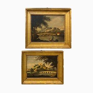 J. Singen, 19. Jahrhundert, Englische Landschaften mit vergoldetem Holzrahmen, Öl auf Leinwand, 2er Set