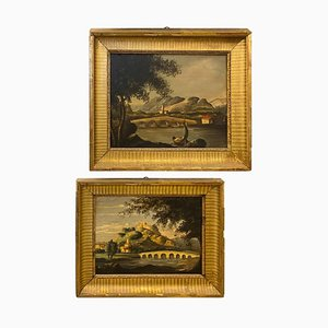 J. Singen, Regno Unito, Regno Unito, Giltwood Frames Landscapes, Oil on Canvas, Set of 2