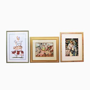 Crocheted Paintings, 1990s, Set of 3
