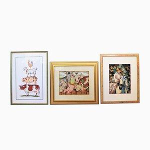 Pinturas de croché, años 90. Juego de 3