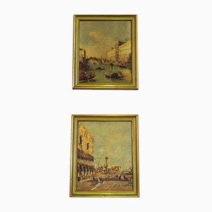 Canvas Landscape Representation of Venice, 1960s, Set of 2
