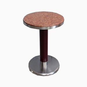 Small Circular Brushed Stainless Steel Pedestal Table, 1920s