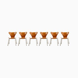 Mid-Century Teak Series 7 Chairs by Arne Jacobsen for Fritz Hansen, Denmark, 1950, Set of 4