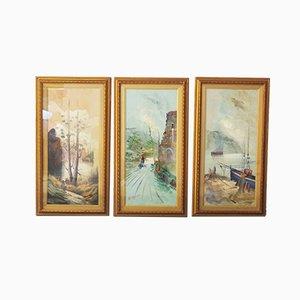 Peintures, Huile sur Toile, Moretti, 1970, Set de 3