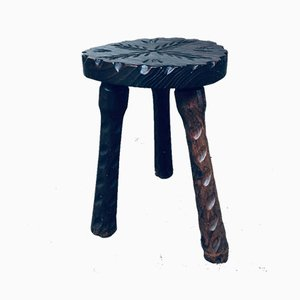 Spanish Brutalist Wooden Tripod Chair & Stool, 1960s, Set of 2