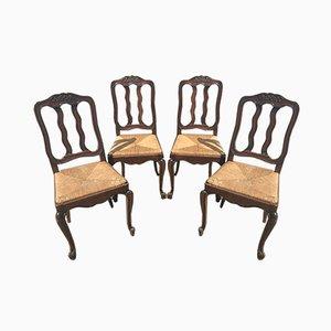 Louis XV Esszimmerstühle aus Eiche, 1940er, 4er Set