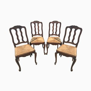 Louis XV Style Oak Dining Chairs, 1940s, Set of 4