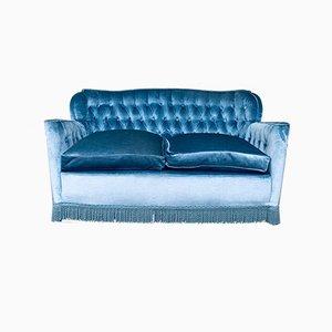 Blaublaues Vintage 2-Sitzer Sofa im Hollywood Regency Stil, 1950er