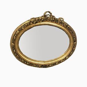 Miroir Louis XVI Ovale en Bois et Stuc Doré