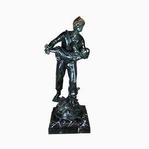 Feuerwehrmann Skulptur auf Marmorfuß von Louis Moreau