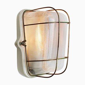 Lampada da parete in vetro Holophane vintage industriale in porcellana