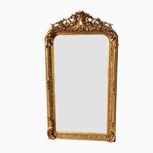 Specchio in stile Luigi XV in legno dorato e stucco