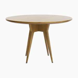 Ash Wood Round Table with Brass Details