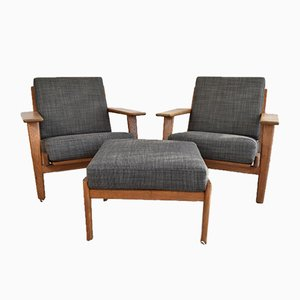 GE290 Easy Chairs and Ottoman by Hans J. Wegner, Set of 3