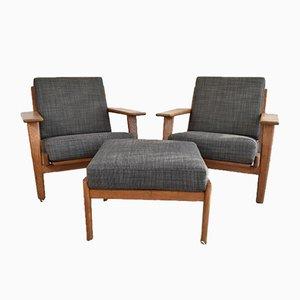 GE290 Sessel und Ottomane von Hans J. Wegner, 3er Set
