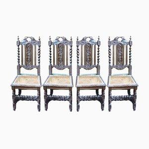 Barocke Eichenholz Esszimmerstühle, 4er Set