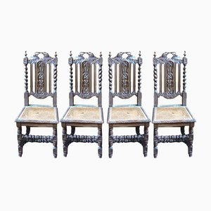 Baroque Oak Dining Chairs, Set of 4