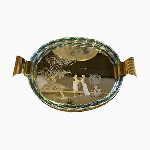 Venetian Etched Mirror Murano Glass Tray