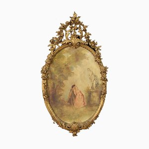 Oval Painting with Golden Frame, 20th-Century