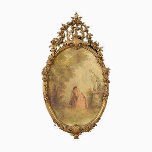 Ovale Malerei mit Goldrahmen, 20. Jahrhundert