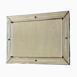 Großer Italienischer Art Deco Murano Glas Spiegel