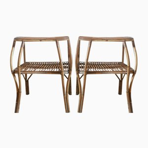 Bedside Tables in Bamboo & Rattan 1960s, Set of 2