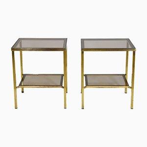 Tavolini a due ripiani vintage in ottone e vetro, anni '70, set di 2