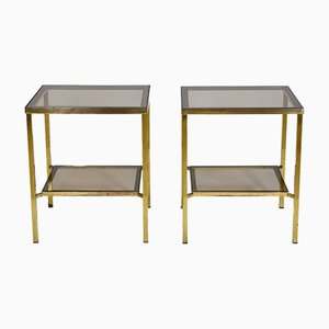 Vintage Brass & Glass Two Tiered Side Tables, 1970s, Set of 2