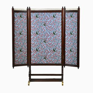 Walnut and Brass Mounted Folding Double Sided Low Screen