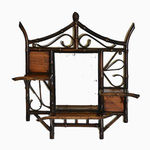 19th Century Bamboo & Parquetry Panelled Wall Mirror