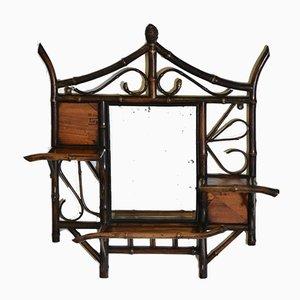 Specchio da parete in bambù e parquet, XIX secolo