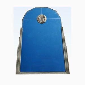 Silberner Art Deco Spiegel mit Holzrahmen