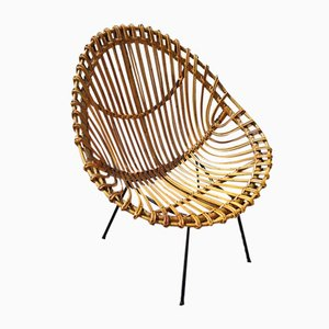 Large Italian Rattan Chair, 1950s