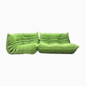 Grünes Togo 2-Sitzer Sofa und Ecksofa von M. Ducaroy für Ligne Roset, 2er Set